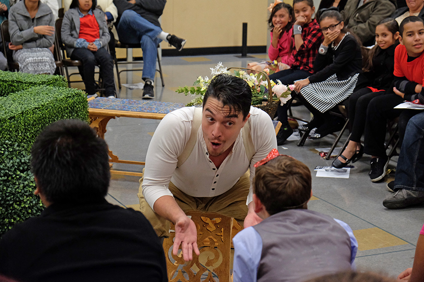 Christopher Salazar as Benedick during a Globe for All performance for South Bay Community Services at Castle Park Elementary School. The 2015 production of The Old Globe's touring program Globe for All, Shakespeare's Much Ado About Nothing, directed by Rob Melrose, tours community venues Nov. 10 - 22. Photo by Ken Jacques.