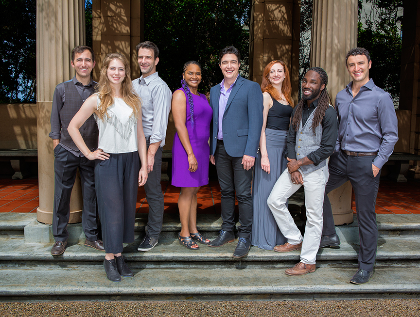 The cast of Globe for All 2015: (from left) Tyler Kent, Charlotte Bydwell, Patrick Zeller, Monique Gaffney, Christopher Salazar, Lindsay Brill, Jamal Douglas, and Lowell Byers. The 2015 production of The Old Globe's touring program Globe for All, featuring Shakespeare's Much Ado About Nothing, directed by Rob Melrose, begins its tour of community venues on Nov. 10 and runs through Nov. 22. Photo by Jim Cox.