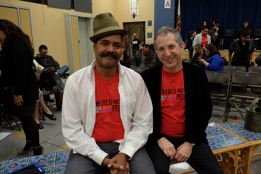 (from left) Director of Arts Engagement Freedome Bradley-Ballentine and Artistic Director Barry Edelstein at a Globe for All performance for South Bay Community Services at Castle Park Elementary School. The 2015 production of The Old Globe's touring program Globe for All, Shakespeare's Much Ado About Nothing, directed by Rob Melrose, tours community venues Nov. 10 - 22. Photo by Ken Jacques.