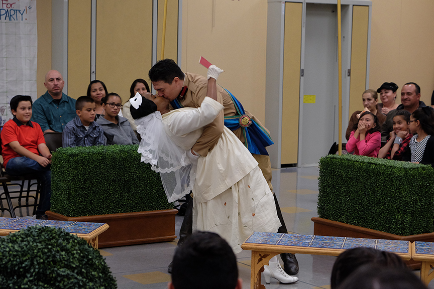 Monique Gaffney as Beatrice and Christopher Salazar as Benedick performing for the audience from South Bay Community Services at Castle Park Elementary School. The 2015 production of The Old Globe's touring program Globe for All, Shakespeare's Much Ado About Nothing, directed by Rob Melrose, tours community venues Nov. 10 - 22. Photo by Ken Jacques.