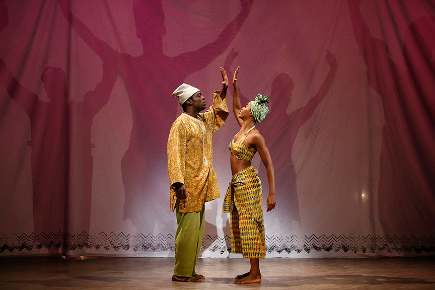 "Adesola Osakalumi and Marija Juliette Abney in Lynn Nottage's vignette ""A Wedding Dance,"
