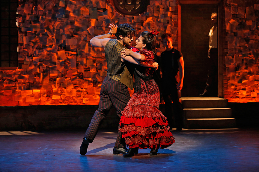 "(foreground) Henry Byalikov and Glenda Sol Koeraus with (background, from left) Ryan Steele and Oscar Valero in Nilo Cruz's vignette ""The Lover's Jacket,"
