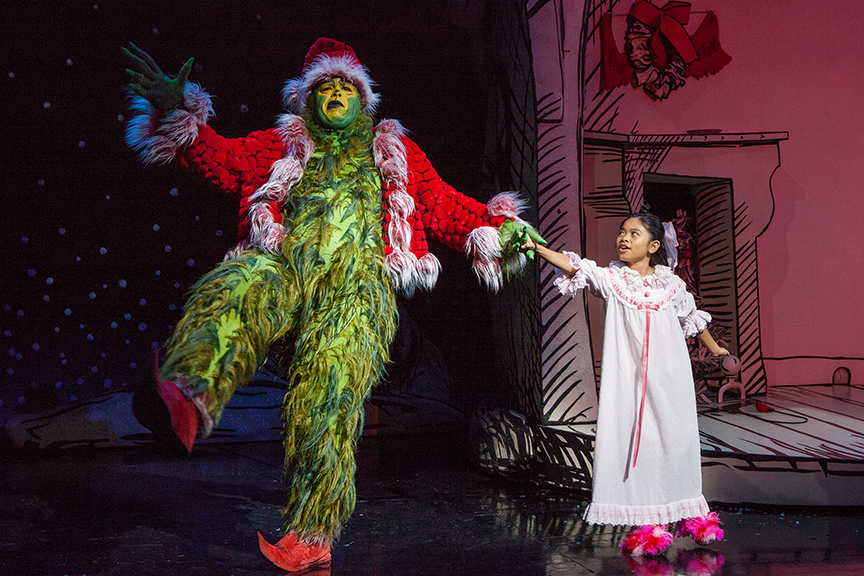J. Bernard Calloway as The Grinch and Mikee Castillo as Cindy-Lou Who in Dr. Seuss' How the Grinch Stole Christmas!, directed by James Vásquez, running Nov. 5 – Dec. 26, 2016 at The Old Globe. Photo by Jim Cox.