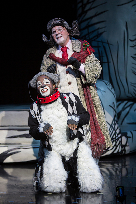 (from top) Steve Gunderson as Old Max and Tyrone Davis, Jr. as Young Max in Dr. Seuss' How the Grinch Stole Christmas!, directed by James Vásquez, running Nov. 5 – Dec. 26, 2016 at The Old Globe. Photo by Jim Cox.
