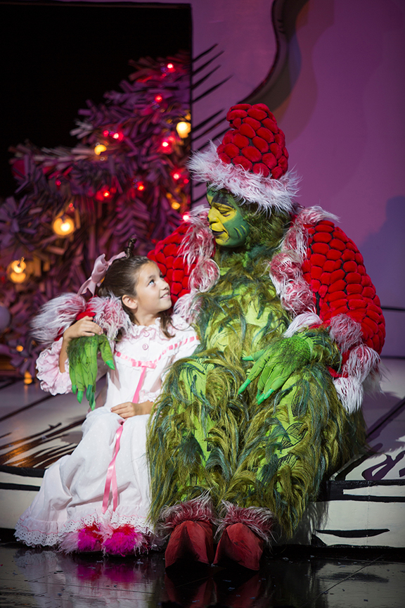 Mia Davila as Cindy-Lou Who and J. Bernard Calloway as The Grinch in Dr. Seuss' How the Grinch Stole Christmas!, directed by James Vásquez, running Nov. 5 – Dec. 26, 2016 at The Old Globe. Photo by Jim Cox.