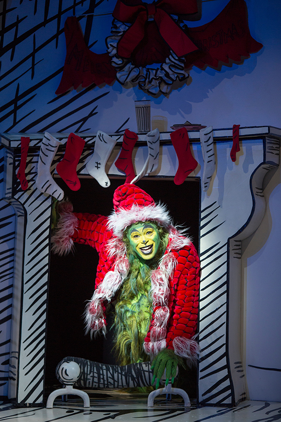 J. Bernard Calloway as The Grinch in Dr. Seuss' How the Grinch Stole Christmas!, directed by James Vásquez, running Nov. 5 – Dec. 26, 2016 at The Old Globe. Photo by Jim Cox.