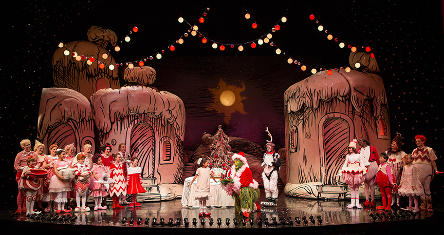 The cast of Dr. Seuss' How the Grinch Stole Christmas!, directed by James Vásquez, running Nov. 5 – Dec. 26, 2016 at The Old Globe. Photo by Jim Cox.