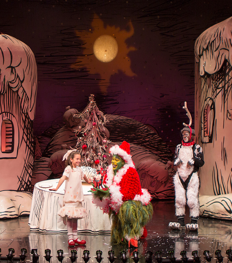 (from left) Mia Davila as Cindy-Lou Who, J. Bernard Calloway as The Grinch, and Tyrone Davis, Jr. as Young Max in Dr. Seuss' How the Grinch Stole Christmas!, directed by James Vásquez, running Nov. 5 – Dec. 26, 2016 at The Old Globe. Photo by Jim Cox.