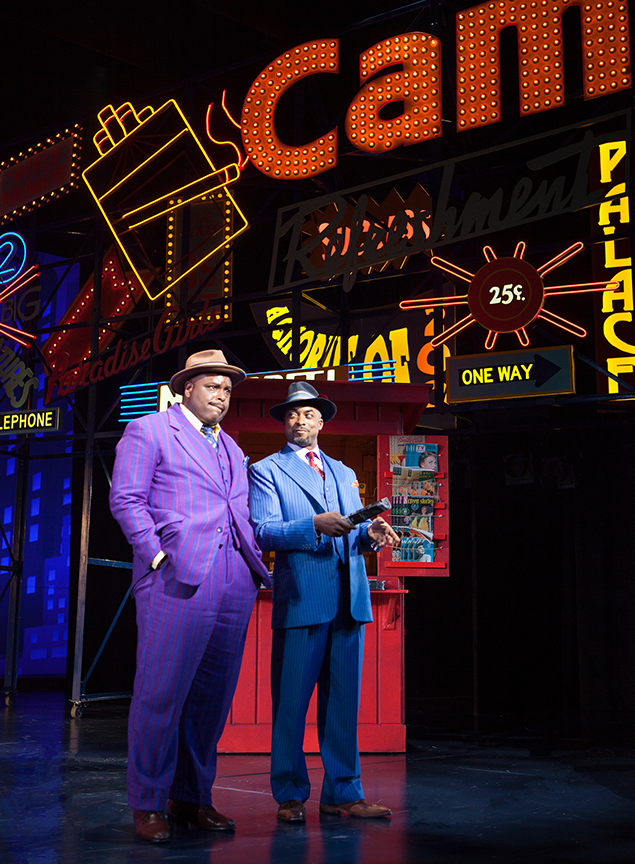 (from left) J. Bernard Calloway as Nathan Detroit and Terence Archie as Sky Masterson. Guys and Dolls, with music and lyrics by Frank Loesser, book by Abe Burrows and Jo Swerling, directed and choreographed by Josh Rhodes, runs July 2 - August 13, 2017 at The Old Globe. Photo by Jim Cox.