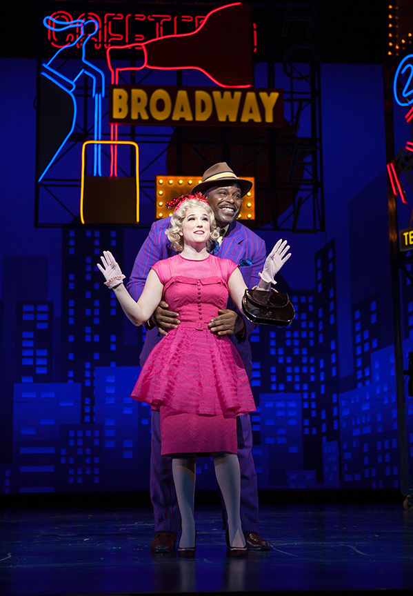 Veronica J. Kuehn as Miss Adelaide and J. Bernard Calloway as Nathan Detroit. Guys and Dolls, with music and lyrics by Frank Loesser, book by Abe Burrows and Jo Swerling, directed and choreographed by Josh Rhodes, runs July 2 - August 13, 2017 at The Old Globe. Photo by Jim Cox.