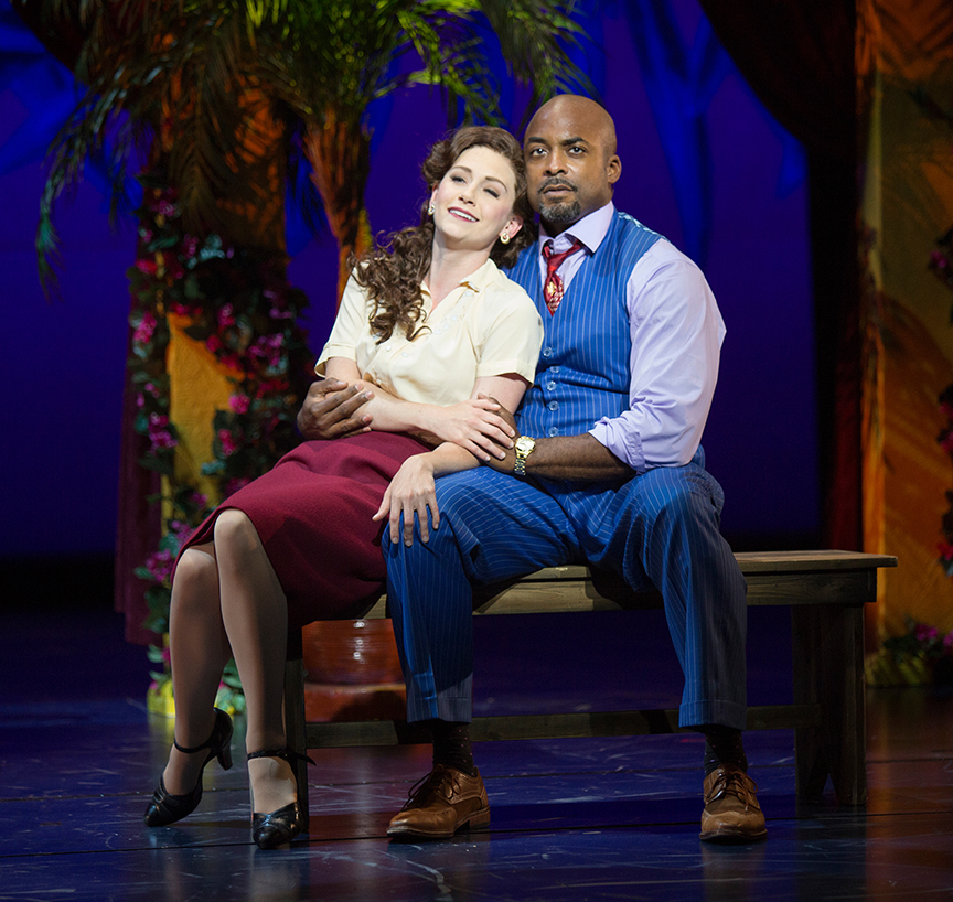 Audrey Cardwell as Sarah Brown and Terence Archie as Sky Masterson. Guys and Dolls, with music and lyrics by Frank Loesser, book by Abe Burrows and Jo Swerling, directed and choreographed by Josh Rhodes, runs July 2 - August 13, 2017 at The Old Globe. Photo by Jim Cox.