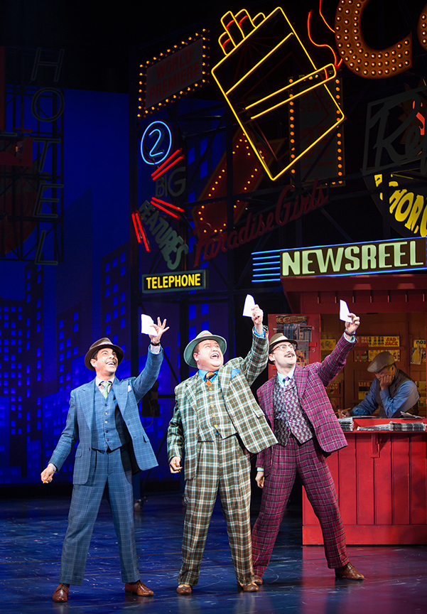 (from left) Matt Bauman as Benny Southstreet, Todd Buonopane as Nicely-Nicely Johnson, and Richard Gatta as Rusty Charlie with Ricky Bulda. Guys and Dolls, with music and lyrics by Frank Loesser, book by Abe Burrows and Jo Swerling, directed and choreographed by Josh Rhodes, runs July 2 - August 13, 2017 at The Old Globe. Photo by Jim Cox.