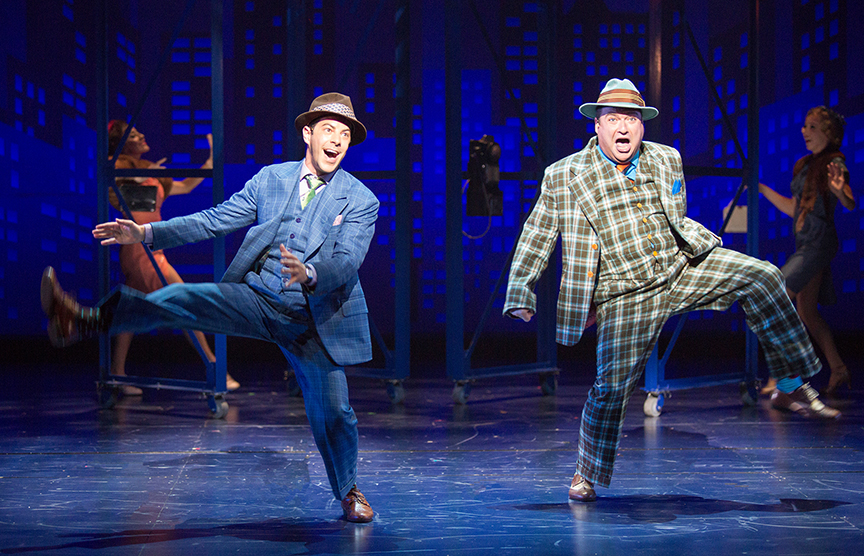 (from left) Matt Bauman as Benny Southstreet and Todd Buonopane as Nicely-Nicely Johnson. Guys and Dolls, with music and lyrics by Frank Loesser, book by Abe Burrows and Jo Swerling, directed and choreographed by Josh Rhodes, runs July 2 - August 13, 2017 at The Old Globe. Photo by Jim Cox.