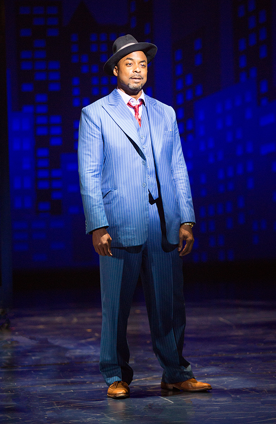 Terence Archie as Sky Masterson in Guys and Dolls, with music and lyrics by Frank Loesser, book by Abe Burrows and Jo Swerling, directed and choreographed by Josh Rhodes, runs July 2 - August 13, 2017 at The Old Globe. Photo by Jim Cox.