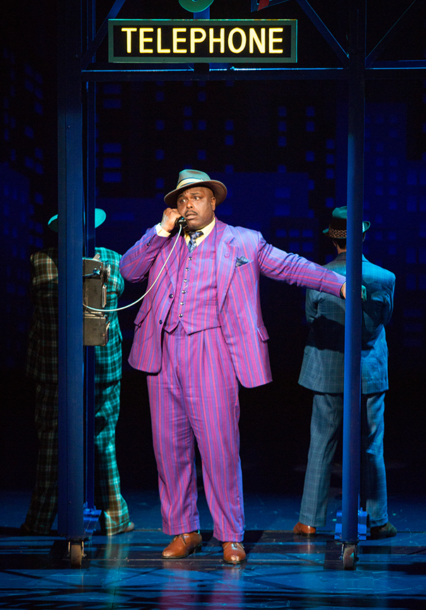 J. Bernard Calloway as Nathan Detroit in Guys and Dolls, with music and lyrics by Frank Loesser, book by Abe Burrows and Jo Swerling, directed and choreographed by Josh Rhodes, runs July 2 - August 13, 2017 at The Old Globe. Photo by Jim Cox.