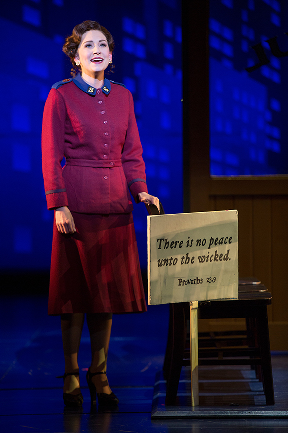 Audrey Cardwell as Sarah Brown in Guys and Dolls, with music and lyrics by Frank Loesser, book by Abe Burrows and Jo Swerling, directed and choreographed by Josh Rhodes, runs July 2 - August 13, 2017 at The Old Globe. Photo by Jim Cox.