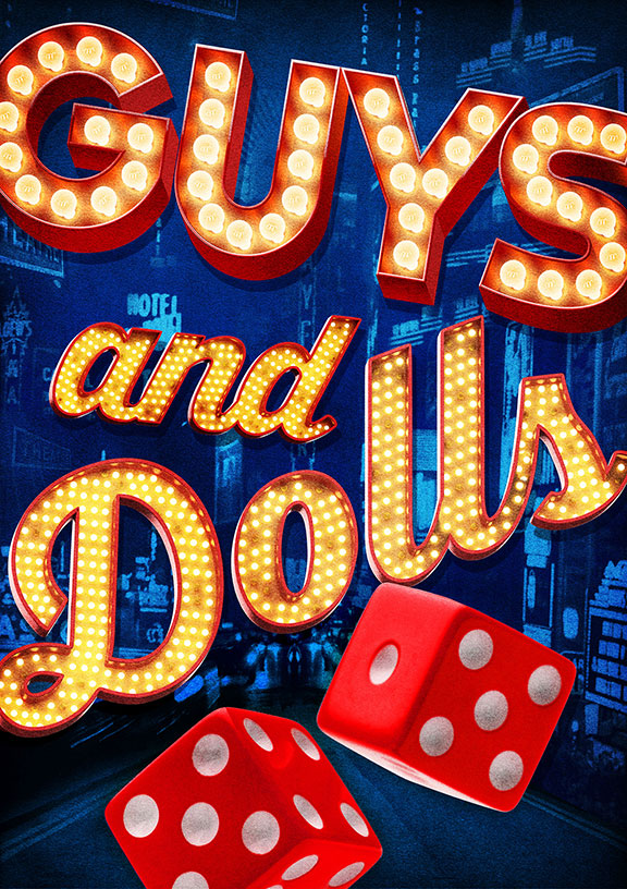 Guys and Dolls is based on a story and characters by Damon Runyon, music and lyrics by Frank Loesser, book by Jo Swerling and Abe Burrows, directed and choreographed by Josh Rhodes, presented in association with Asolo Repertory Theatre. Artwork courtesy of The Old Globe.