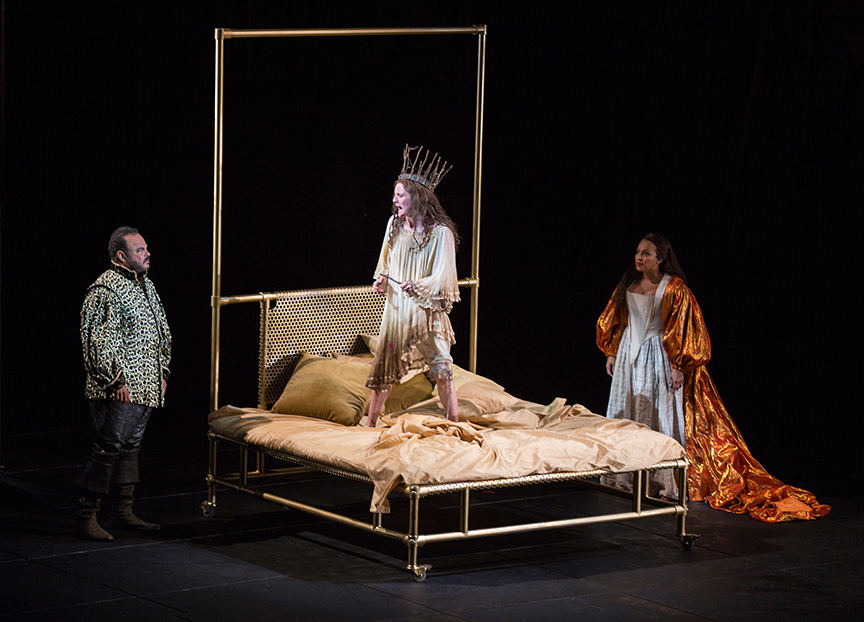 (from left) Cornell Womack as King Claudius, Talley Beth Gale as Ophelia, and Opal Alladin as Queen Gertrude in Hamlet, by William Shakespeare, directed by Barry Edelstein, running August 6 - September 10, 2017. Photo by Jim Cox.