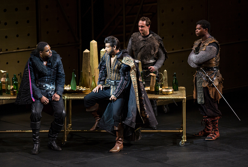 (from left) Grantham Coleman as Hamlet, Ian Lassiter as Horatio, Lorenzo Landini as Barnardo, and Amara James Aja as Marcellus in Hamlet, by William Shakespeare, directed by Barry Edelstein, running August 6 - September 10, 2017. Photo by Jim Cox.