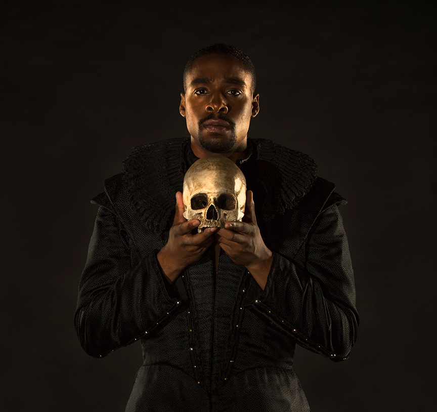 Grantham Coleman appears in the title role of Hamlet, by William Shakespeare, directed by Barry Edelstein, running August 6 - September 10, 2017. Photo by Jim Cox.