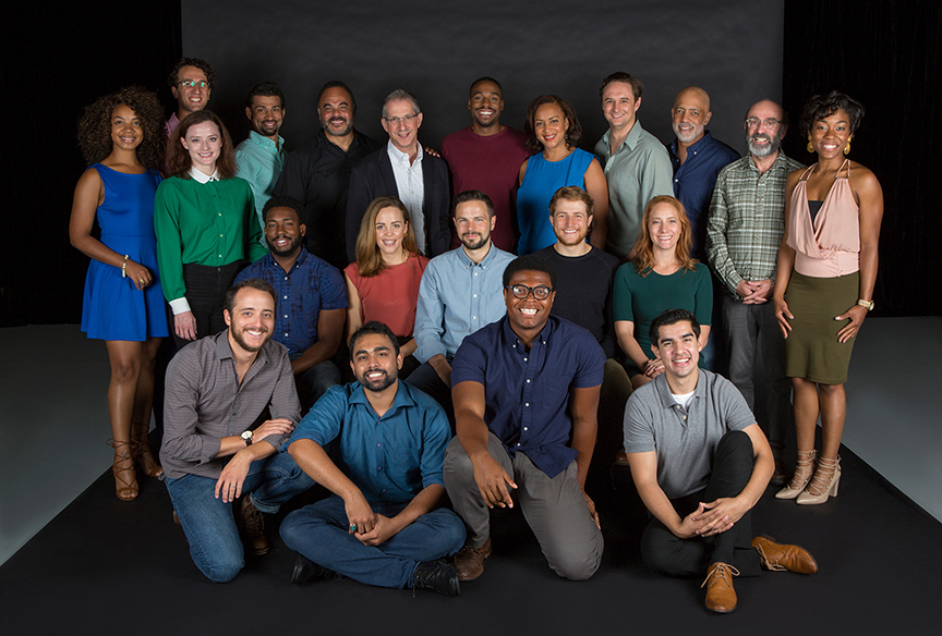 Director Barry Edelstein (top row center) with the cast of Hamlet, by William Shakespeare, running August 6 - September 10, 2017. Photo by Jim Cox.