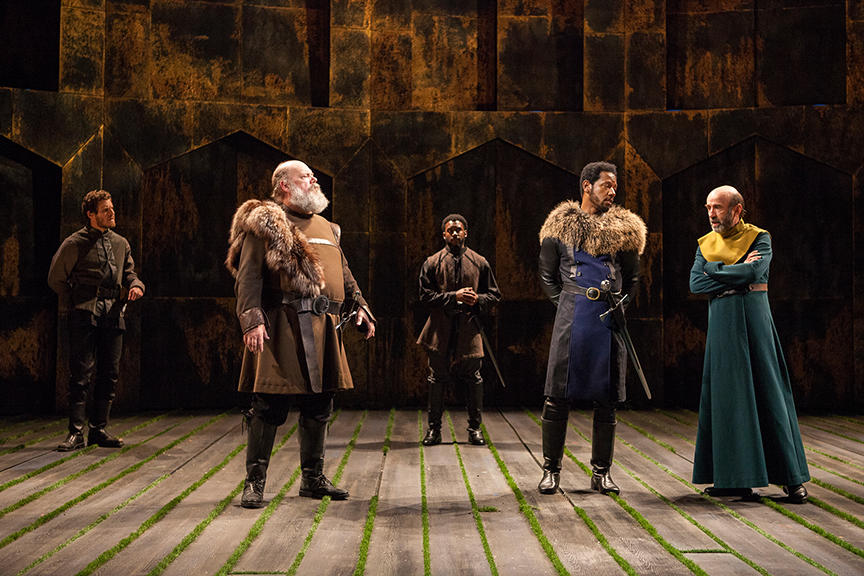 (from left) Connor Sullivan as Lord Willoughby, John Ahlin as Earl of Northumberland, Renardo Charles Jr. as Lord Ross, Tory Kittles as Henry Bolingbroke, and Patrick Kerr as Duke of York in King Richard II, by William Shakespeare, directed by Erica Schmidt, running June 11 - July 15, 2017. Photo by Jim Cox.