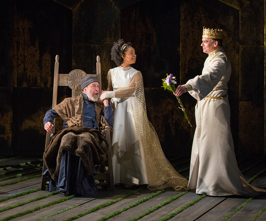 (from left) Charles Janasz as John of Gaunt, Nora Carroll as Queen Isabel, and Robert Sean Leonard as King Richard II in King Richard II, by William Shakespeare, directed by Erica Schmidt, running June 11 - July 15, 2017. Photo by Jim Cox.