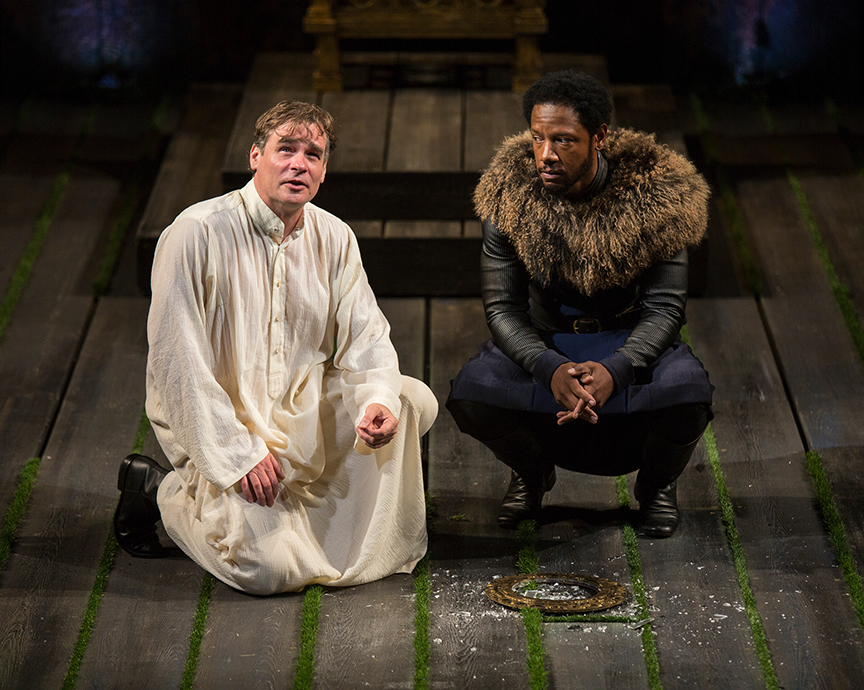 (from left) Robert Sean Leonard as King Richard II and Tory Kittles as Henry Bolingbroke in King Richard II, by William Shakespeare, directed by Erica Schmidt, running June 11 - July 15, 2017. Photo by Jim Cox.