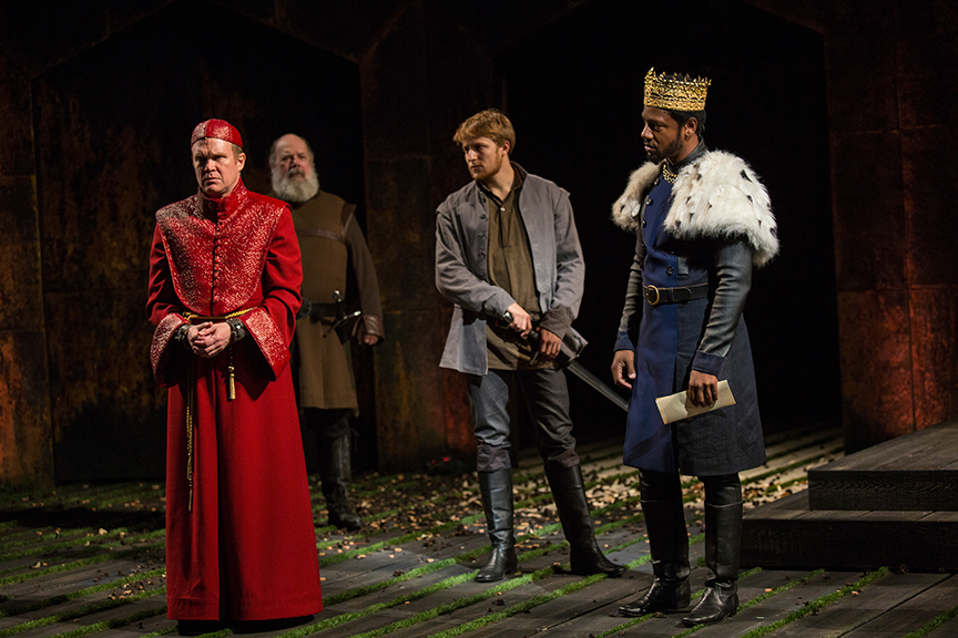 (from left) James Joseph O'Neil as Bishop of Carlisle, John Ahlin as Earl of Northumberland, Samuel Max Avishay as Harry Percy, and Tory Kittles as Henry Bolingbroke in King Richard II, by William Shakespeare, directed by Erica Schmidt, running June 11 - July 15, 2017. Photo by Jim Cox.