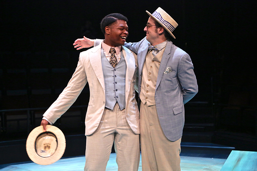 (from left) Amara James Aja as Valentine and Kevin Hafso-Koppman as Proteus in The Old Globe and University of San Diego Shiley Graduate Theatre Program production of William Shakespeare's The Two Gentlemen of Verona, directed by Richard Seer, November 12 - 20, 2016. Photo by Adriana Zuniga Photography.