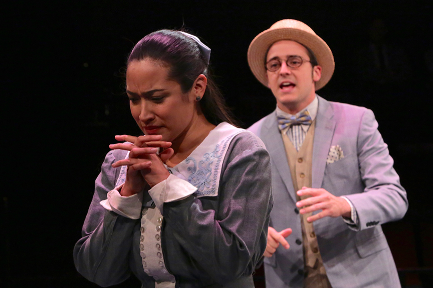 Suzelle Palacios as Julia and Kevin Hafso-Koppman as Proteus in The Old Globe and University of San Diego Shiley Graduate Theatre Program production of William Shakespeare's The Two Gentlemen of Verona, directed by Richard Seer, November 12 - 20, 2016. Photo by Adriana Zuniga Photography.