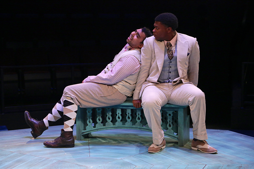 (from left) Ajinkya Desai as Speed and Amara James Aja as Valentine in The Old Globe and University of San Diego Shiley Graduate Theatre Program production of William Shakespeare's The Two Gentlemen of Verona, directed by Richard Seer, November 12 - 20, 2016. Photo by Adriana Zuniga Photography.