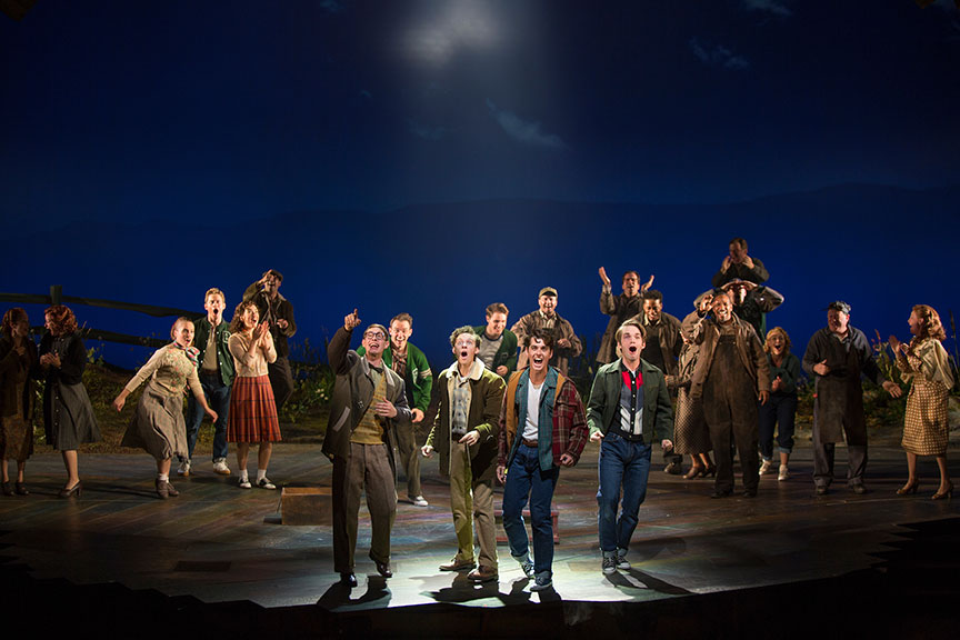 (from left) Connor Russell as Quentin, Austyn Myers as O'Dell, Kyle Selig as Homer Hickam, and Patrick Rooney as Roy Lee with the cast of the West Coast premiere of October Sky, with book by Brian Hill and Aaron Thielen, music and lyrics by Michael Mahler, directed and choreographed by Rachel Rockwell, inspired by the Universal Pictures film and Rocket Boys by Homer H. Hickam, Jr., running Sept. 10 - Oct. 23, 2016 at The Old Globe. Photo by Jim Cox.