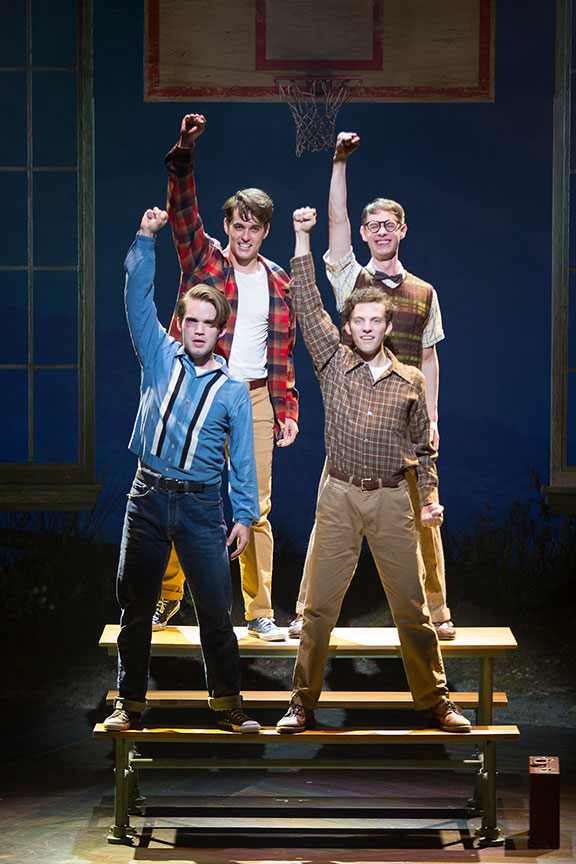 (clockwise from top left) Kyle Selig as Homer Hickam, Connor Russell as Quentin, Austyn Myers as O'Dell, and Patrick Rooney as Roy Lee in the West Coast premiere of October Sky, with book by Brian Hill and Aaron Thielen, music and lyrics by Michael Mahler, directed and choreographed by Rachel Rockwell, inspired by the Universal Pictures film and Rocket Boys by Homer H. Hickam, Jr., running Sept. 10 - Oct. 23, 2016 at The Old Globe. Photo by Jim Cox.