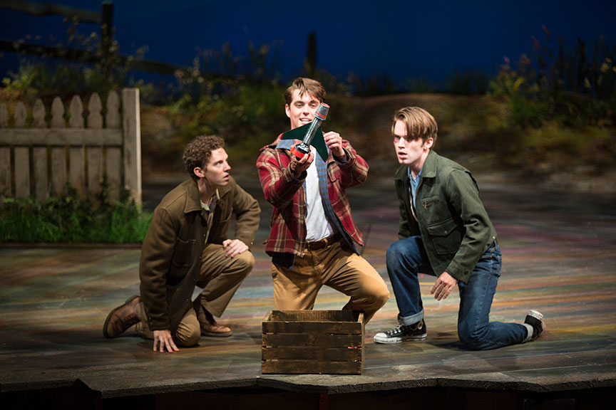 (from left) Austyn Myers as O'Dell, Kyle Selig as Homer Hickam, and Patrick Rooney as Roy Lee in the West Coast premiere of October Sky, with book by Brian Hill and Aaron Thielen, music and lyrics by Michael Mahler, directed and choreographed by Rachel Rockwell, inspired by the Universal Pictures film and Rocket Boys by Homer H. Hickam, Jr., running Sept. 10 - Oct. 23, 2016 at The Old Globe. Photo by Jim Cox.