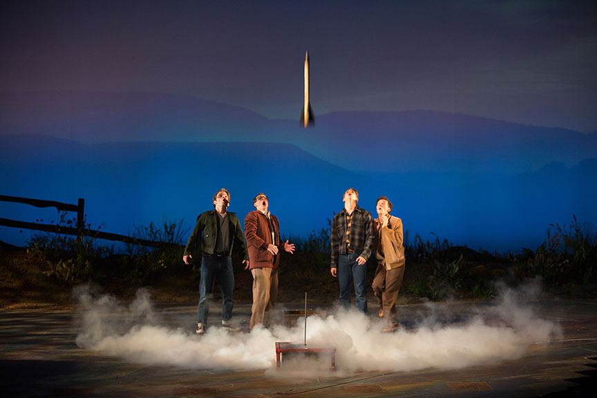 (from left) Patrick Rooney as Roy Lee, Connor Russell as Quentin, Kyle Selig as Homer Hickam, and Austyn Myers as O'Dell in the West Coast premiere of October Sky, with book by Brian Hill and Aaron Thielen, music and lyrics by Michael Mahler, directed and choreographed by Rachel Rockwell, inspired by the Universal Pictures film and Rocket Boys by Homer H. Hickam, Jr., running Sept. 10 - Oct. 23, 2016 at The Old Globe. Photo by Jim Cox.