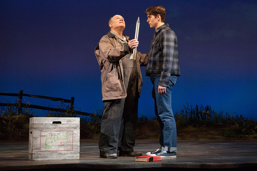 (from left) Joel Blum as Ike Bykovski and Kyle Selig as Homer Hickam in the West Coast premiere of October Sky, with book by Brian Hill and Aaron Thielen, music and lyrics by Michael Mahler, directed and choreographed by Rachel Rockwell, inspired by the Universal Pictures film and Rocket Boys by Homer H. Hickam, Jr., running Sept. 10 - Oct. 23, 2016 at The Old Globe. Photo by Jim Cox.