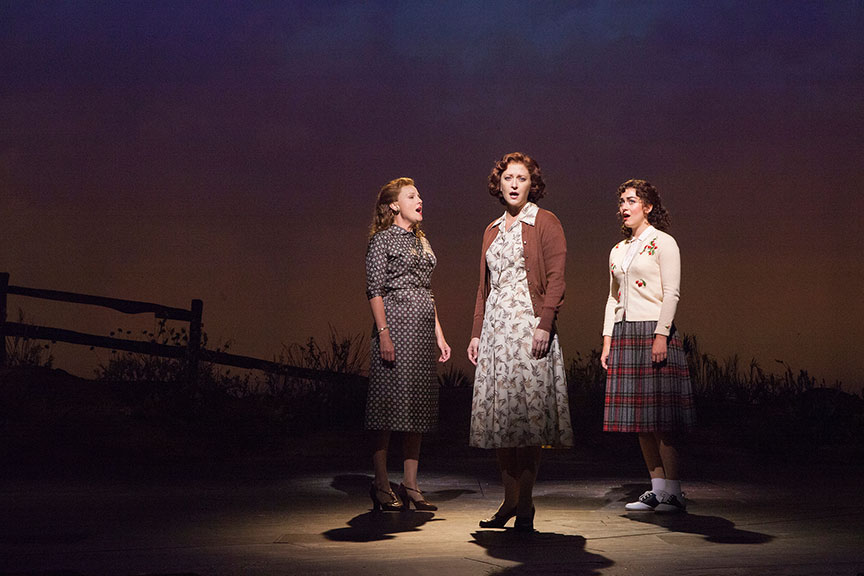 (from left) Sandra DeNise as Miss Riley, Kerry O'Malley as Elsie Hickam, and Eliza Palasz as Dorothy in the West Coast premiere of October Sky, with book by Brian Hill and Aaron Thielen, music and lyrics by Michael Mahler, directed and choreographed by Rachel Rockwell, inspired by the Universal Pictures film and Rocket Boys by Homer H. Hickam, Jr., running Sept. 10 - Oct. 23, 2016 at The Old Globe. Photo by Jim Cox.