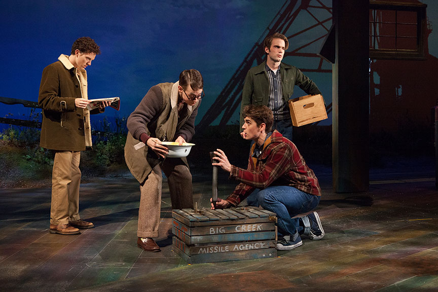 (from left) Austyn Myers as O'Dell, Connor Russell as Quentin, Kyle Selig as Homer Hickam, and Patrick Rooney as Roy Lee in the West Coast premiere of October Sky, with book by Brian Hill and Aaron Thielen, music and lyrics by Michael Mahler, directed and choreographed by Rachel Rockwell, inspired by the Universal Pictures film and Rocket Boys by Homer H. Hickam, Jr., running Sept. 10 - Oct. 23, 2016 at The Old Globe. Photo by Jim Cox.