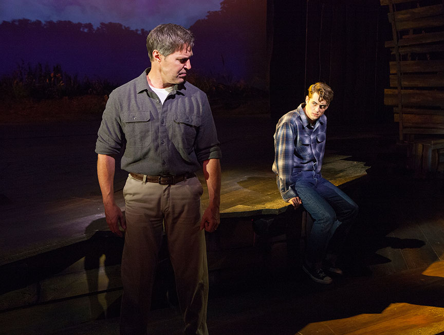 (from left) Ron Bohmer as John Hickam and Kyle Selig as Homer Hickam in the West Coast premiere of October Sky, with book by Brian Hill and Aaron Thielen, music and lyrics by Michael Mahler, directed and choreographed by Rachel Rockwell, inspired by the Universal Pictures film and Rocket Boys by Homer H. Hickam, Jr., running Sept. 10 - Oct. 23, 2016 at The Old Globe. Photo by Jim Cox.