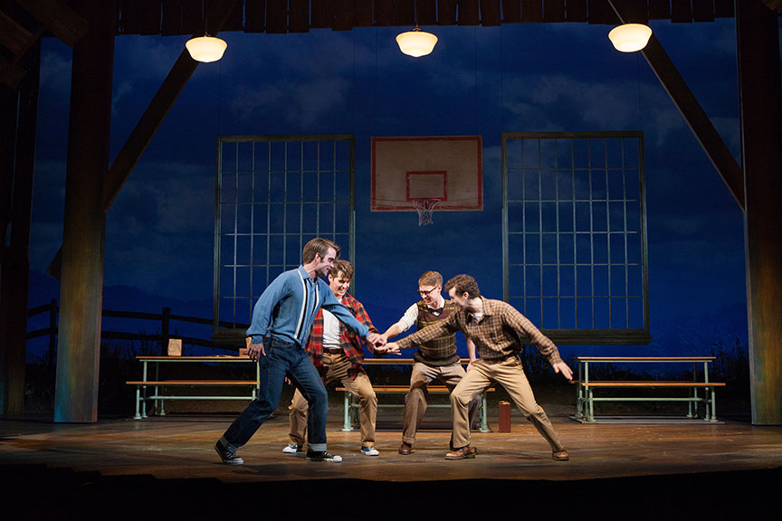 (from left) Patrick Rooney as Roy Lee, Kyle Selig as Homer Hickam, Connor Russell as Quentin, and Austyn Myers as O'Dell in the West Coast premiere of October Sky, with book by Brian Hill and Aaron Thielen, music and lyrics by Michael Mahler, directed and choreographed by Rachel Rockwell, inspired by the Universal Pictures film and Rocket Boys by Homer H. Hickam, Jr., running Sept. 10 - Oct. 23, 2016 at The Old Globe. Photo by Jim Cox.
