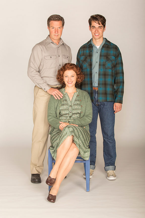 (from left) Ron Bohmer appears as John Hickam, Kerry O'Malley as Elsie Hickam, and Kyle Selig as Homer Hickam in the West Coast premiere of October Sky, with book by Brian Hill and Aaron Thielen, music and lyrics by Michael Mahler, directed and choreographed by Rachel Rockwell, inspired by the Universal Pictures film and Rocket Boys by Homer H. Hickam, Jr., running Sept. 10 - Oct. 23, 2016 at The Old Globe. Photo by Jim Cox.