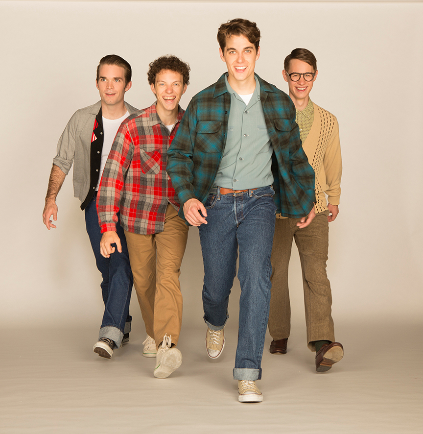 (from left) Patrick Rooney appears as Roy Lee, Austyn Myers as O'Dell, Kyle Selig as Homer Hickam, and Connor Russell as Quentin in the West Coast premiere of October Sky, with book by Brian Hill and Aaron Thielen, music and lyrics by Michael Mahler, directed and choreographed by Rachel Rockwell, inspired by the Universal Pictures film and Rocket Boys by Homer H. Hickam, Jr., running Sept. 10 - Oct. 23, 2016 at The Old Globe. Photo by Jim Cox.