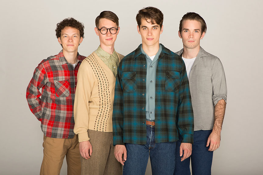 (from left) Austyn Myers appears as O'Dell, Connor Russell as Quentin, Kyle Selig as Homer Hickam, and Patrick Rooney as Roy Lee in the West Coast premiere of October Sky, with book by Brian Hill and Aaron Thielen, music and lyrics by Michael Mahler, directed and choreographed by Rachel Rockwell, inspired by the Universal Pictures film and Rocket Boys by Homer H. Hickam, Jr., running Sept. 10 - Oct. 23, 2016 at The Old Globe. Photo by Jim Cox.