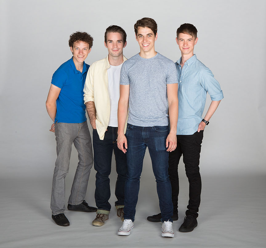 (from left) Austyn Myers appears as O'Dell, Patrick Rooney as Roy Lee, Kyle Selig as Homer Hickam, and Connor Russell as Quentin in the West Coast premiere of October Sky, with book by Brian Hill and Aaron Thielen, music and lyrics by Michael Mahler, directed and choreographed by Rachel Rockwell, inspired by the Universal Pictures film and Rocket Boys by Homer H. Hickam, Jr., running Sept. 10 - Oct. 23, 2016 at The Old Globe. Photo by Jim Cox.