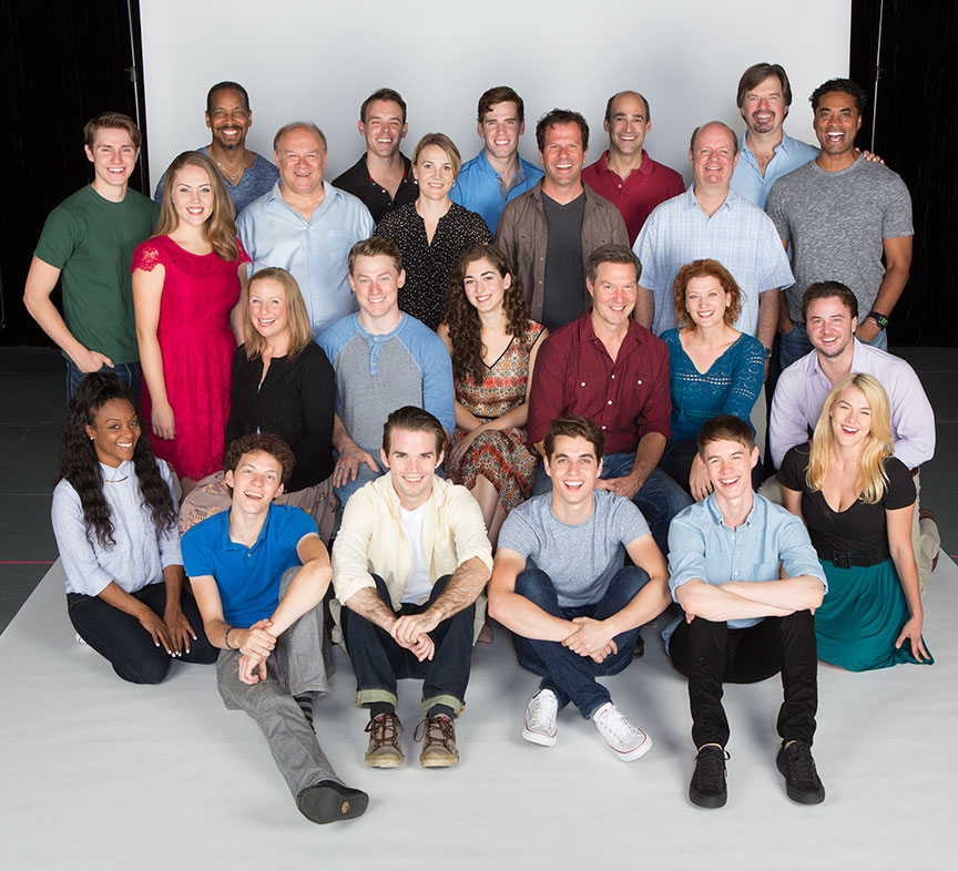 The cast of the West Coast premiere of October Sky, with book by Brian Hill and Aaron Thielen, music and lyrics by Michael Mahler, directed and choreographed by Rachel Rockwell, inspired by the Universal Pictures film and Rocket Boys by Homer H. Hickam, Jr., running Sept. 10 - Oct. 23, 2016 at The Old Globe. Photo by Jim Cox.