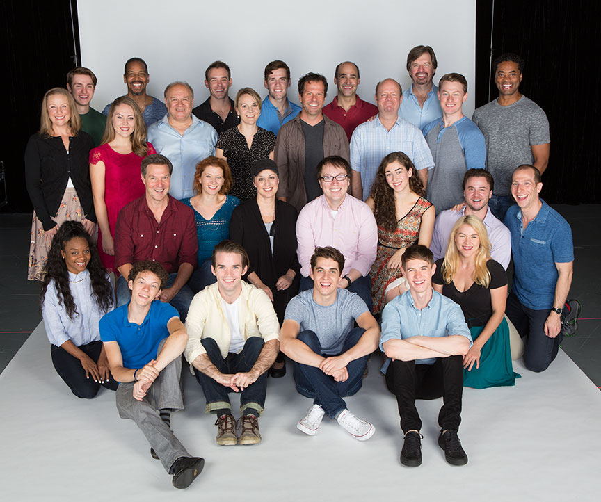 Director and choreographer Rachel Rockwell and composer and lyricist Michael Mahler (center) with the cast of the West Coast premiere of October Sky, with book by Brian Hill and Aaron Thielen, music and lyrics by Michael Mahler, directed and choreographed by Rachel Rockwell, inspired by the Universal Pictures film and Rocket Boys by Homer H. Hickam, Jr., running Sept. 10 - Oct. 23, 2016 at The Old Globe. Photo by Jim Cox.
