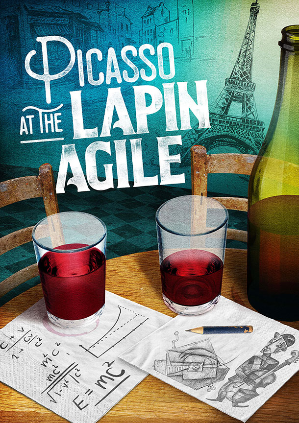 Picasso at the Lapin Agile written by Steve Martin and directed by Barry Edelstein, runs Feb. 4 – March 12, 2017 at The Old Globe. Artwork courtesy of The Old Globe.