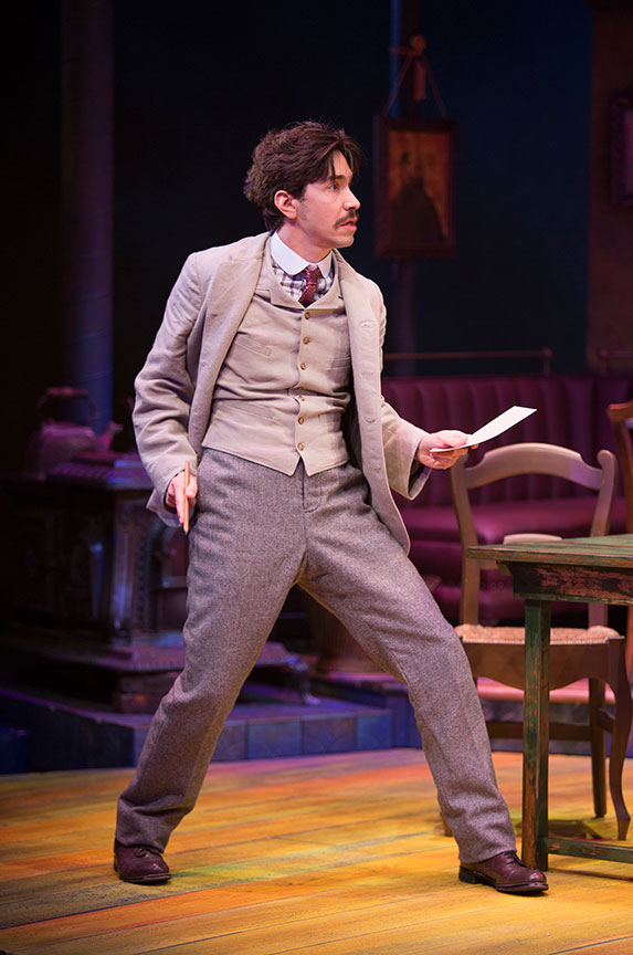 Justin Long as Albert Einstein in Picasso at the Lapin Agile, by Steve Martin, directed by Barry Edelstein, running February 4 - March 12, 2017 at The Old Globe. Photo by Jim Cox.