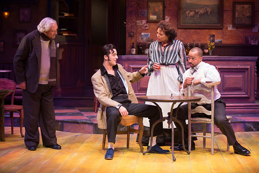 (from left) Hal Linden as Gaston, Kevin Hafso-Koppman as Visitor, Luna Veléz as Germaine, and Donald Faison as Freddy in Picasso at the Lapin Agile, by Steve Martin, directed by Barry Edelstein, running February 4 - March 12, 2017 at The Old Globe. Photo by Jim Cox.